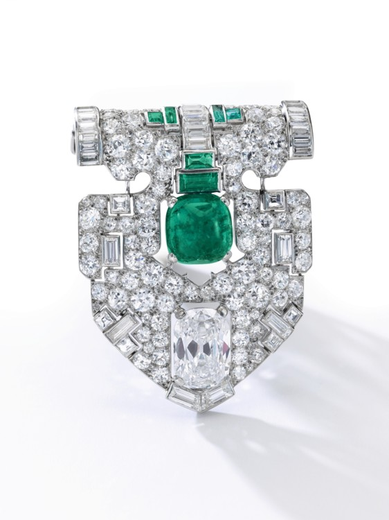 attractive emerald and diamond clip, Cartier, Sotheby's