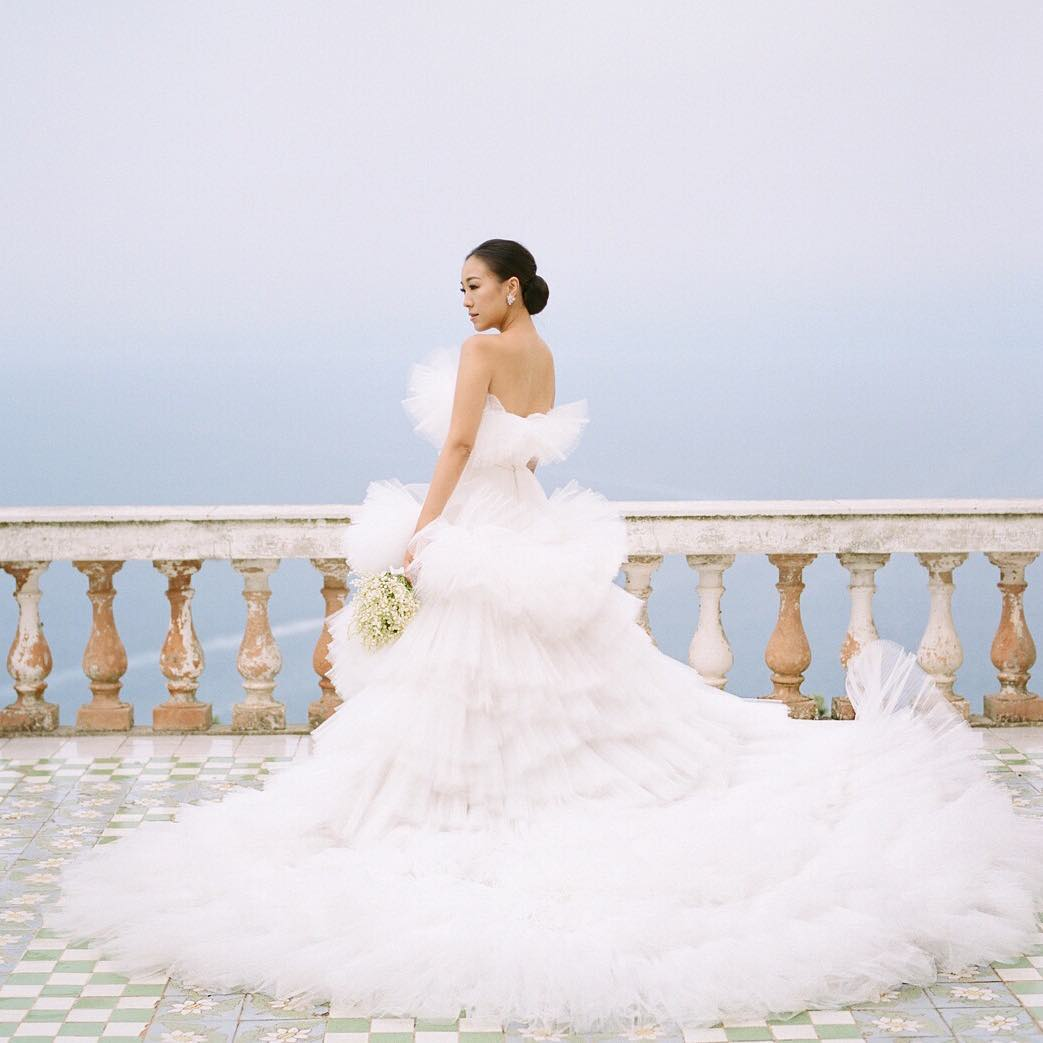Feiping Chang in the wedding dress by Giambattista Valli Couture