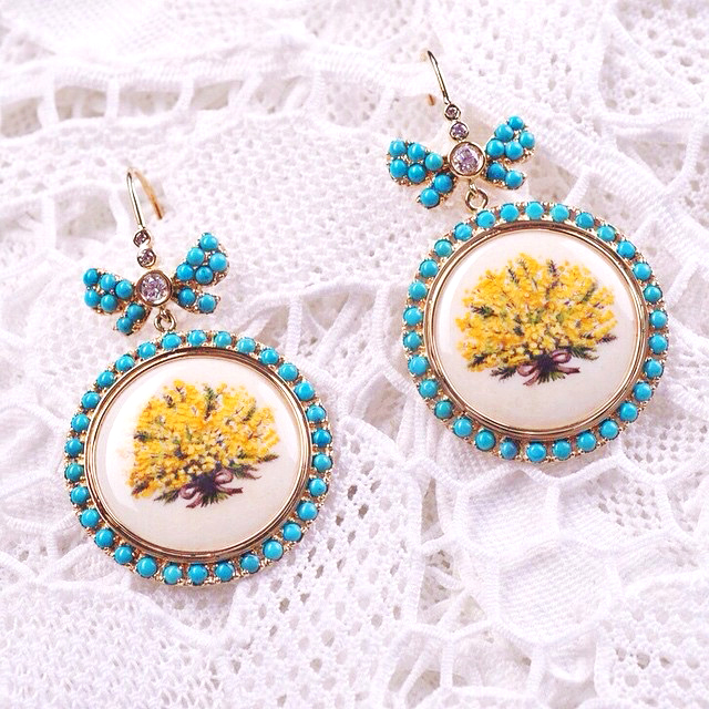 "Russian gold ""Mimosa""  earrings with turquoise and diamonds"