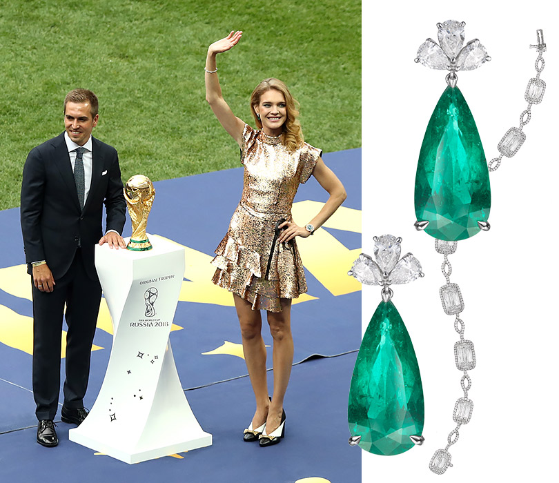 "Photo enhancement: Natalya Vodyanova in the jewelry Chopard presented the cup FIFA and danced ""Kalinka"""