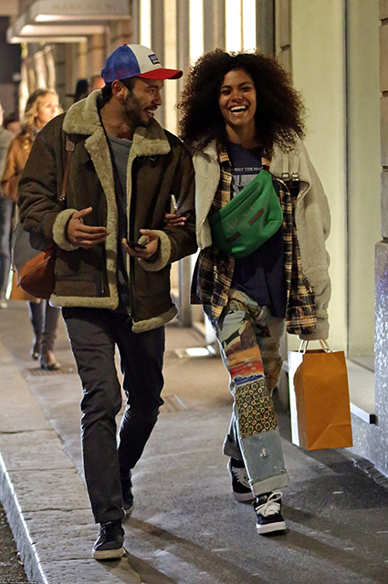 tina kunakey has fun in milan without vincent cassel