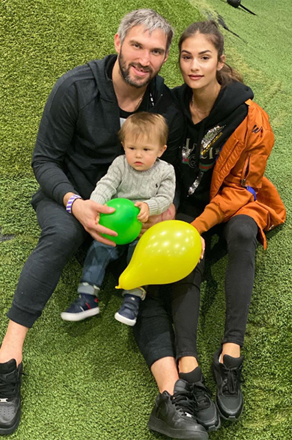 Alexander Ovechkin with his wife Anastasia and son Sergei