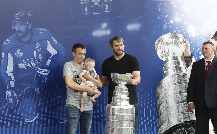 Ovechkin during a photo session at the FIFA fans' festival
