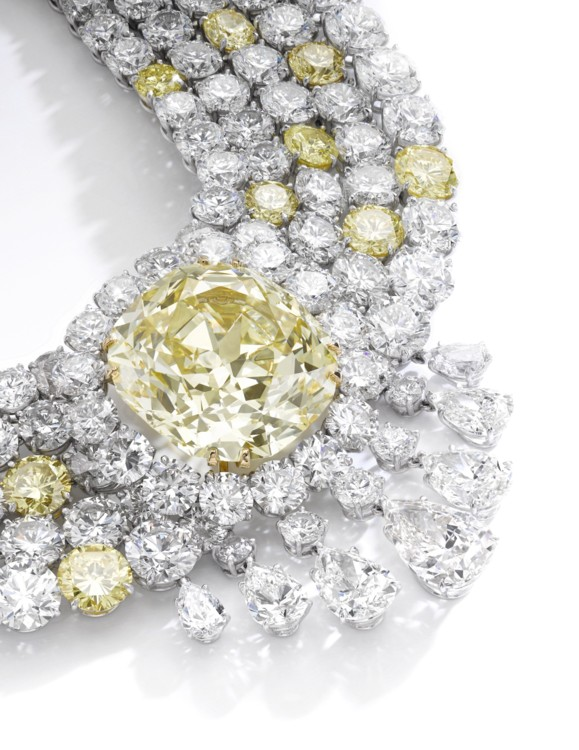 Fancy Intense Yellow diamond necklace, Sotheby's