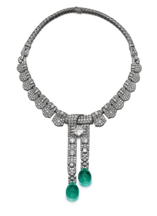 Emerald diamond necklace Cartier, Sotheby's