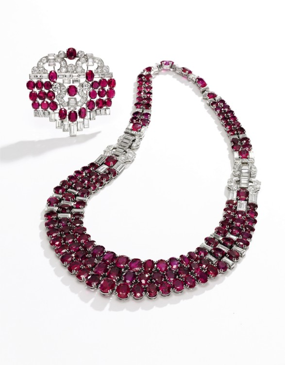 Ruby and diamond necklace and a broch, Sotheby's
