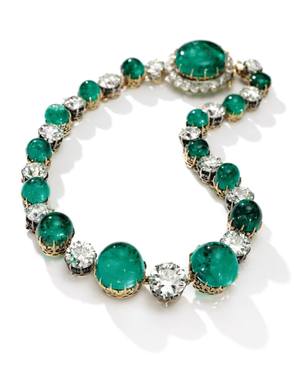 Emerald and diamond necklace, Sotheby's