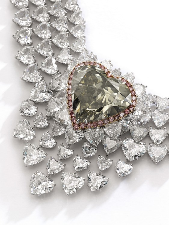 Spectacular fancy dark brown greenish yellow diamond and diamand necklace, Sotheby's