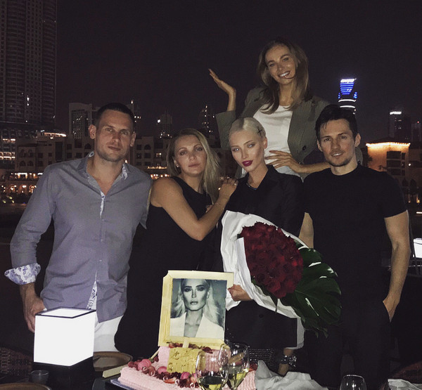 Alena Shishkova with Pavel Durov and friends at a party in the UAE