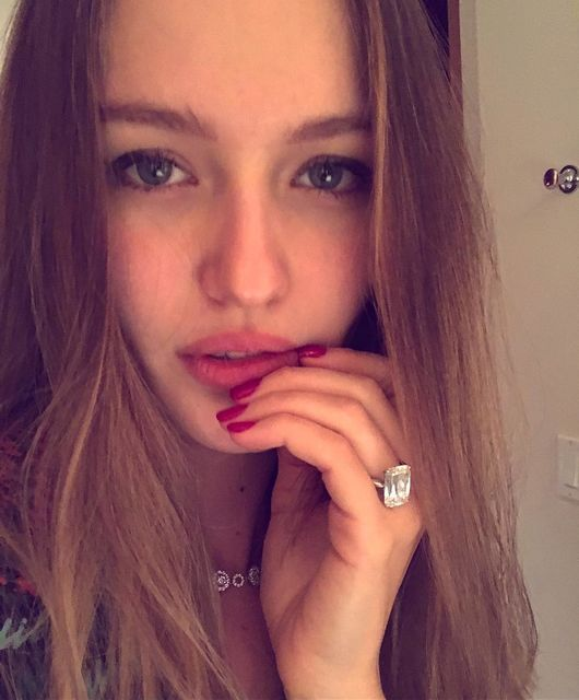 The young bride of oligarch Doronin Kristina Romanova showed off an engagement ring