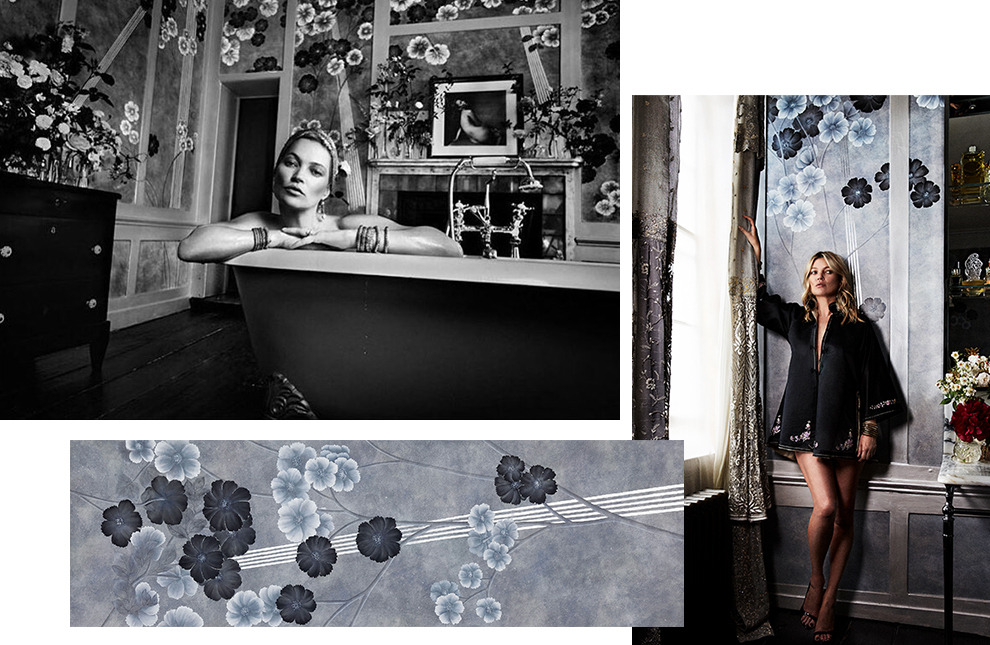 Silver anemones on silk wallpaper Kate Moss for de Gournay