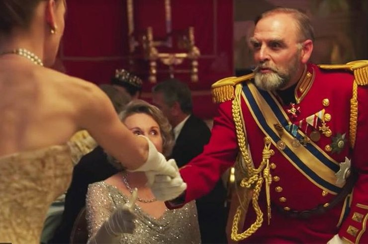 "Evgenia Brik, Isabelle Huppert, Aaron Eckhart and others in the teaser of the series ""Romanovs"""