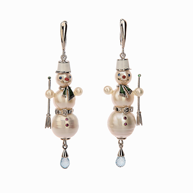 Snowman earrings with gold, pearls, enamel, topazes, diamonds