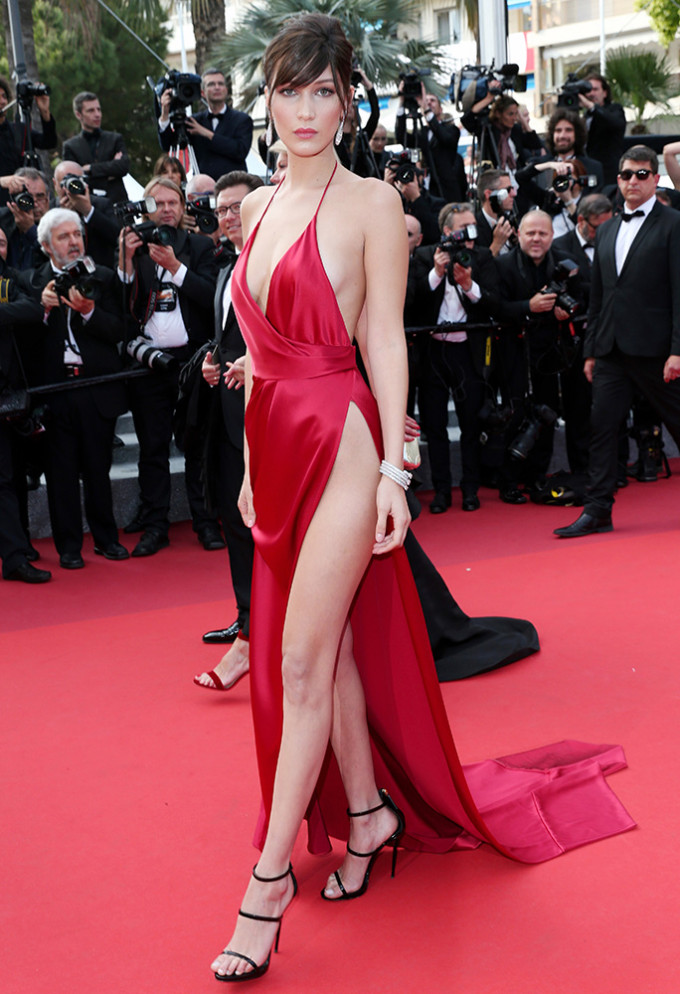 a2b2cd0c106 Bella Hadid ditches her underwear and wows on the red carpet in VERY daring  satin gown