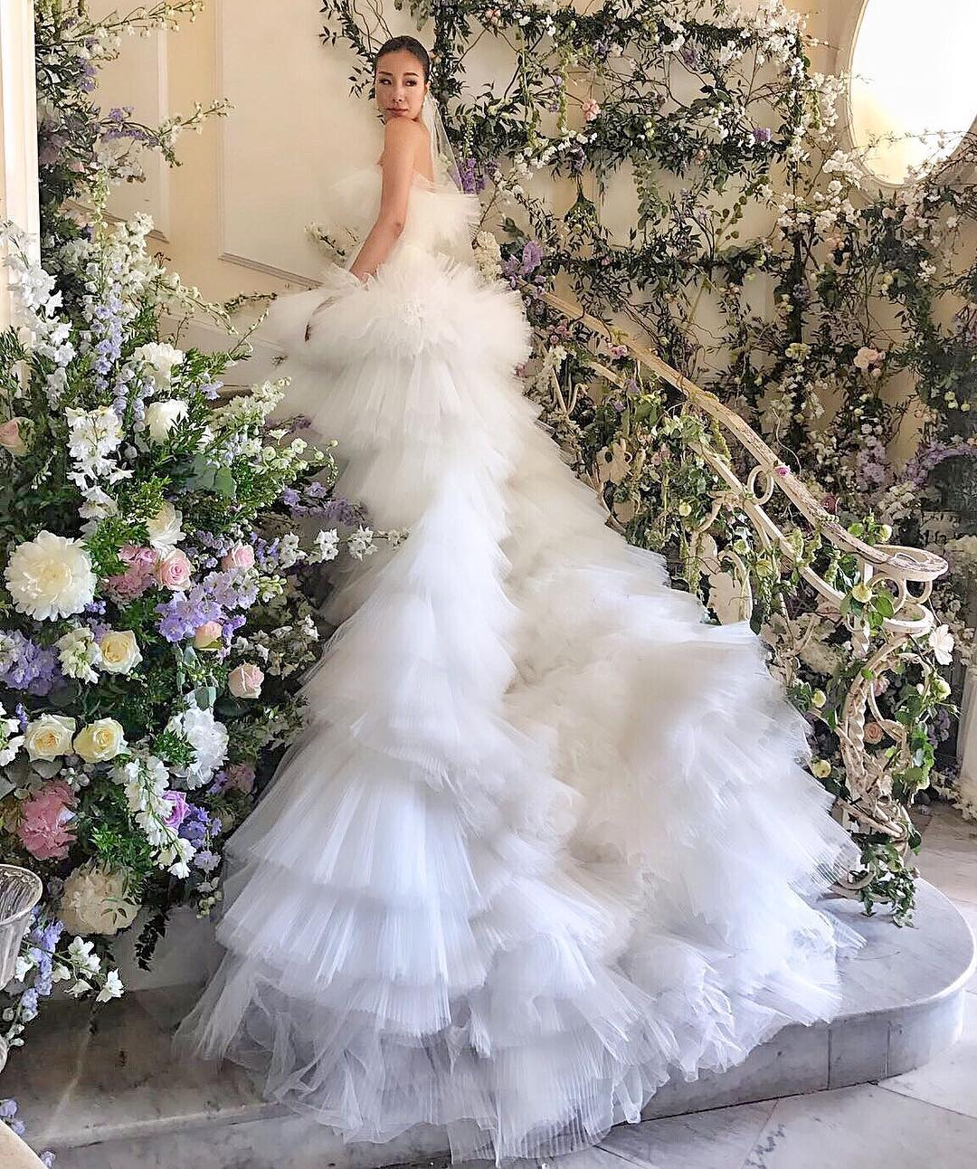 Feiping Chang in the  Giambattista Valli Couture wedding dress