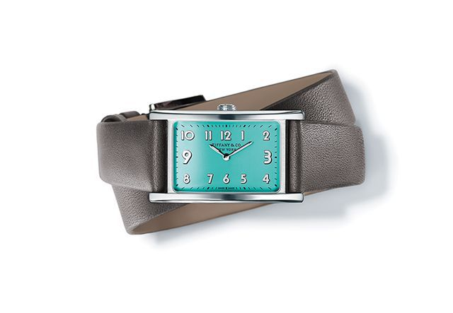Tiffany-East-West-Mini-timepiece-in-stainless-steel-37-x-22-mm-quartz-movement-with-a-Tiffany-Blue-dial-on-a-gray-calf-strap