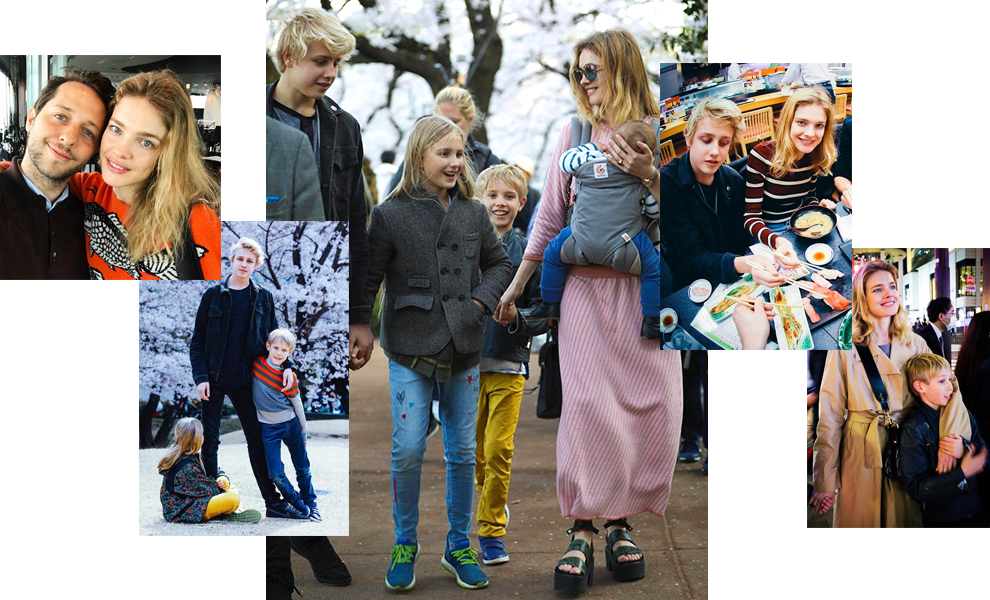 Natalia Vodianova with children in Japan