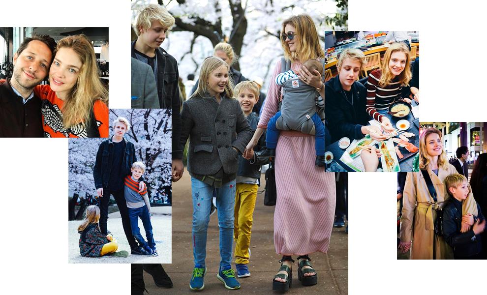 Natalia Vodianova with children in Japan