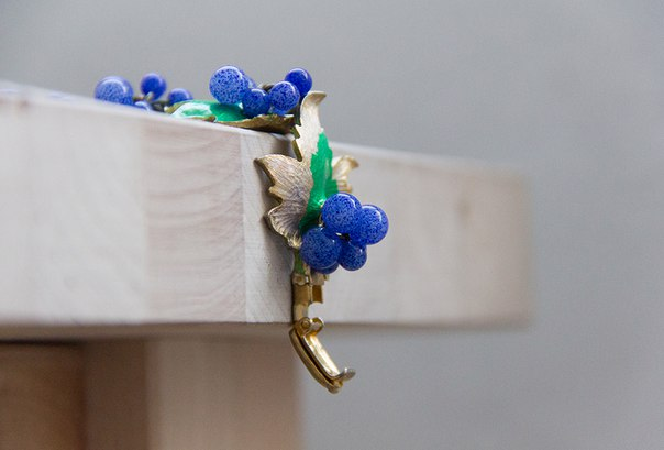 Bracelet with currant berries and leaves made of enamel and glass, 1950