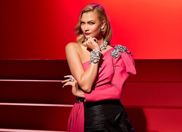 Karlie Kloss as Marilyn Monroe and Audrey Hepburn in the new Swarovski ad