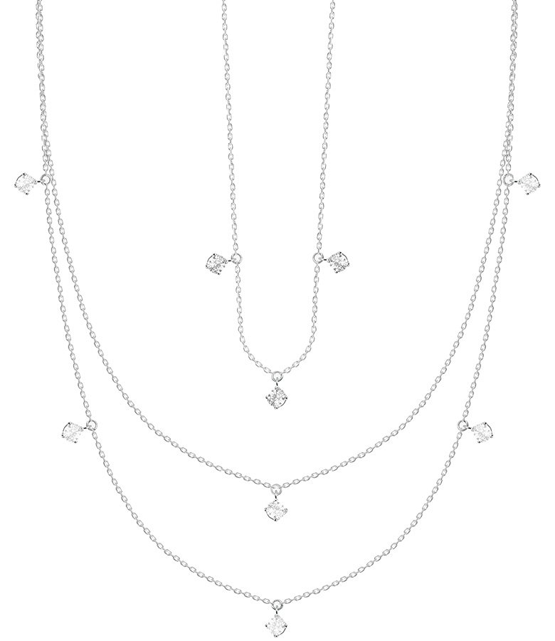 Necklace 18-carat white gold weight 1 g, 40-42 cm long with 0.11 carat diamond;  necklace of 18-carat white gold weight of 1 g and a length of 35-37 cm with 0.04 carat diamond;  Necklace in 18 carat white gold weight 1,4 g, length of 43-45 cm with a 0.18 carat diamond from the collection One from Vanrycke
