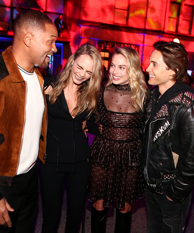 Onstage with Will Smith, Cara Delevingne and Jared Leto at the 2016 MTV Movie Awards, April 9, 2016