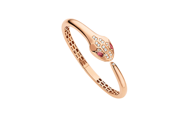 Serpenti pink gold bracelet with rubellite eyes and pavé-set head