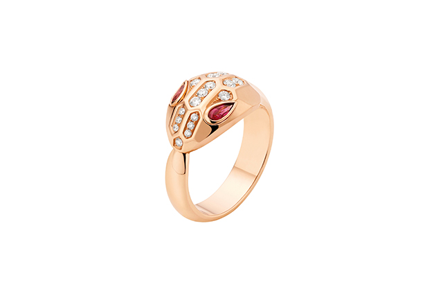 Serpenti pink gold ring with rubellite eyes and pavé-set head