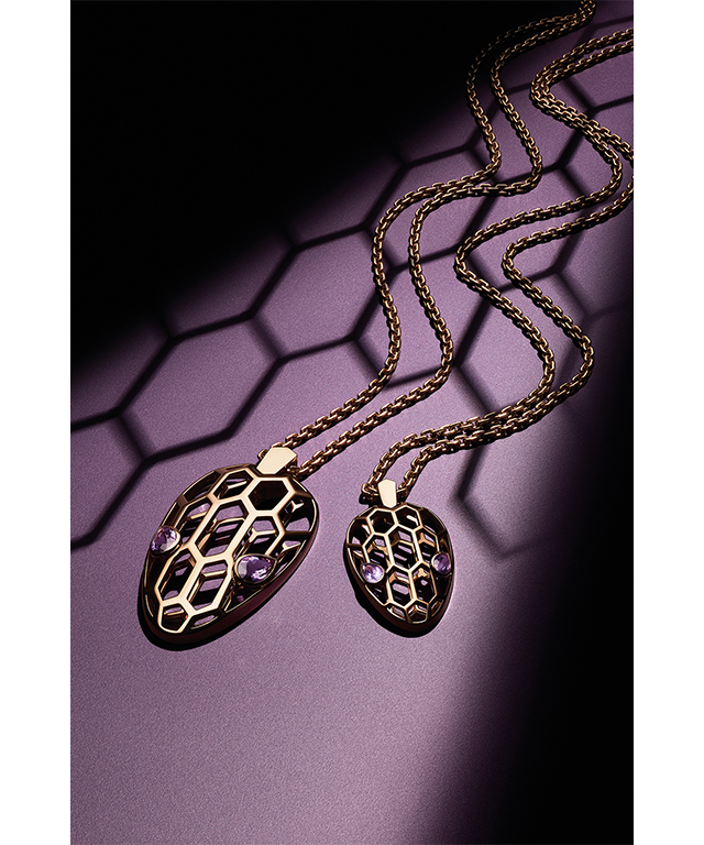 Serpenti pink gold pendants with amethyst eyes