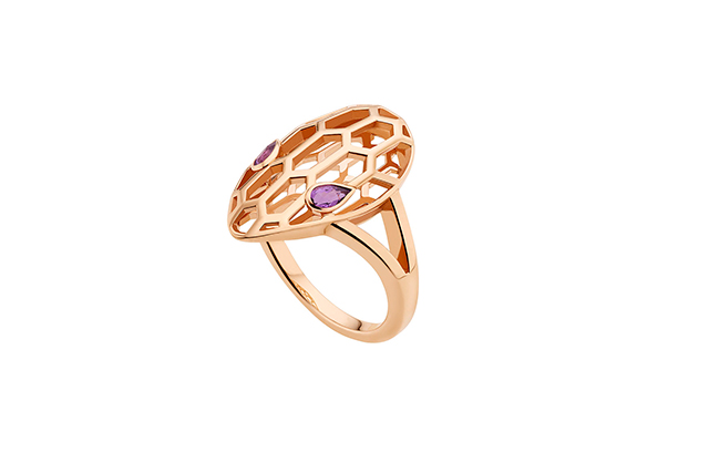 Serpenti pink gold ring with amethyst eyes
