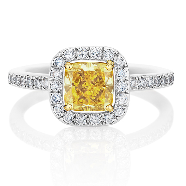 White micropave cushion yellow ring