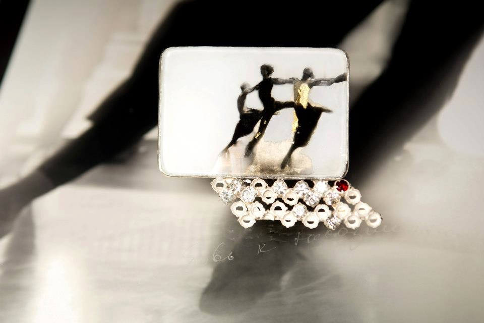 Brooch with garnet, topazs, vintage glass, glass, silver, gold leaf, photograph by Yuri Molodkovets, €510