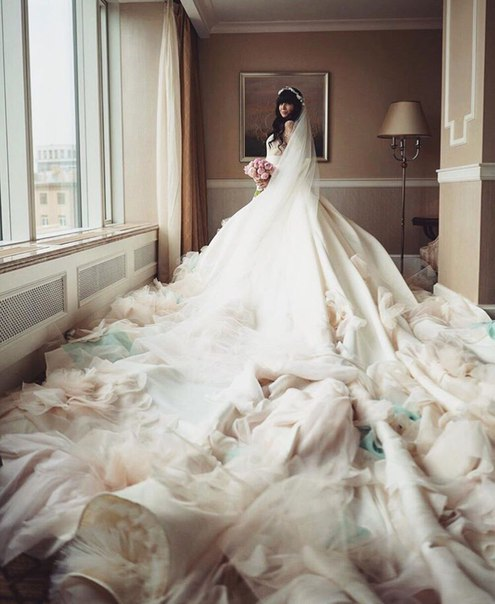 Wedding Dress With Longest Train Resembles Polina Gagarina Dress At Eurovision Song Contest 2015