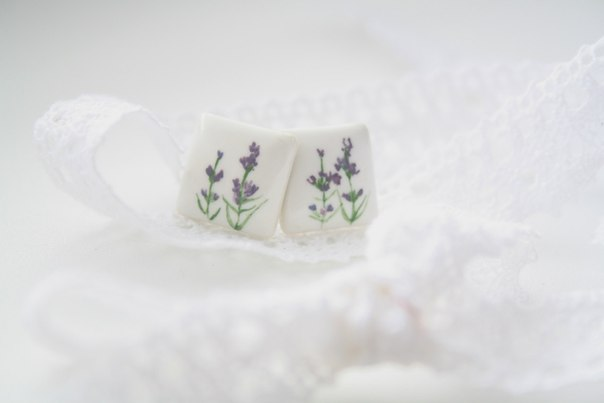 "handmade porcelain earrings ""Lavender"""